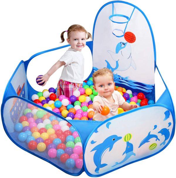 Likorlove Kinder Bällebad mit Mini Basketballkorb